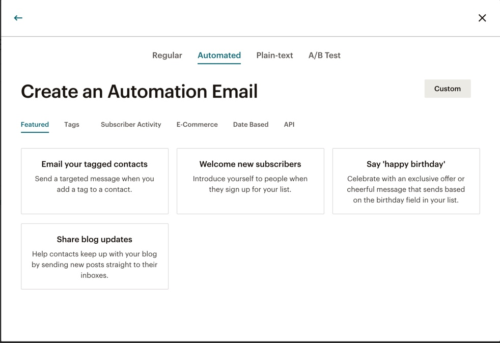 Automatitxació mailchimp