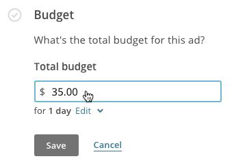 El preu d'un anunci a Facebook i Instagram fet a Mallchimp és de 5 euros per dia